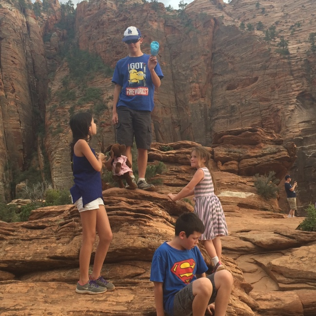 Kids playing at Zion National Park, Utah 2015