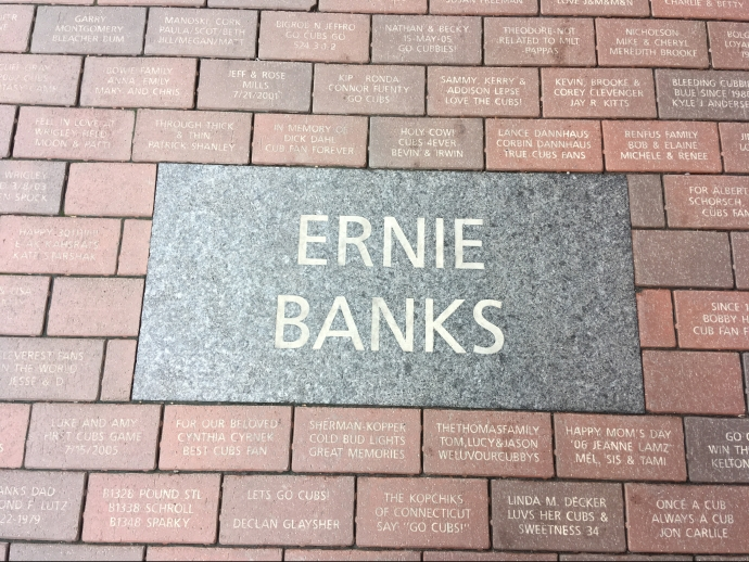 The brick paver sidewalk outside the park commemorates memories, family, and a love of baseball.