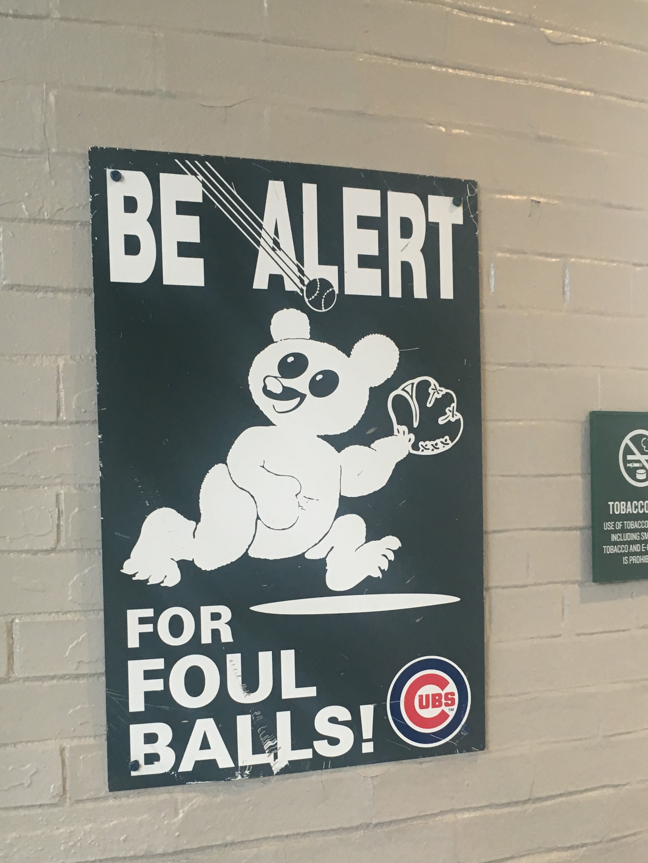 cubs- foul ball sign