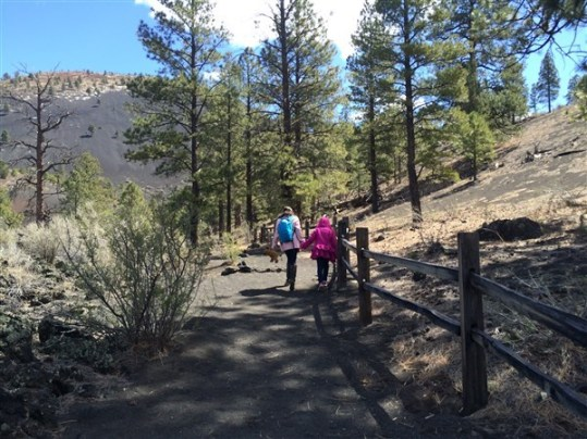Hiking on a cold spring day at Sunset Crater