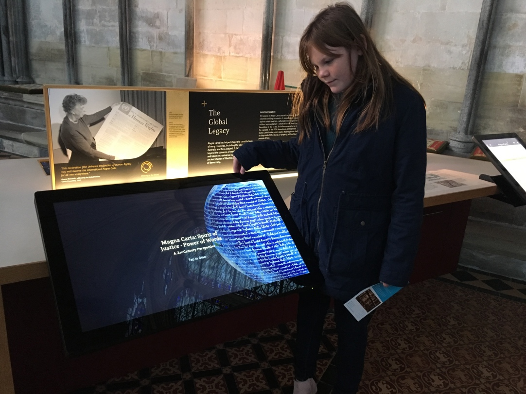 The interactive display allowed for Sam to learn more about how the Magna Carta influenced other governing documents.